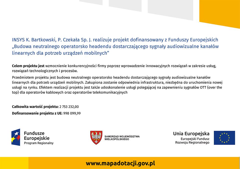 Wielkopolska EU Regional Funding for Insys